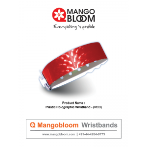 Plastic Holographic Wristband  - Red 400 x 600