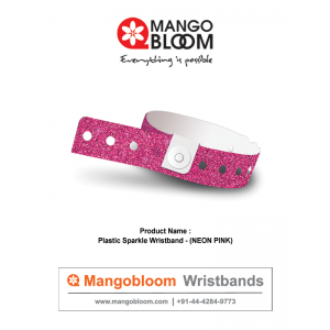 Plastic Sparkle Wristband - Neon Pink 400 x 600
