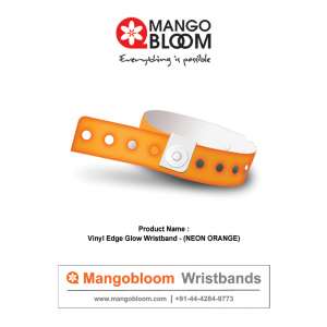 Vinyl Edge Glow Wristband - Neon Orange 400 x 600