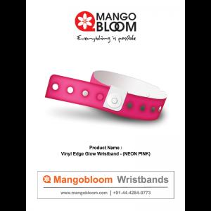 Vinyl Edge Glow Wristband- Neon Pink 400 x 600